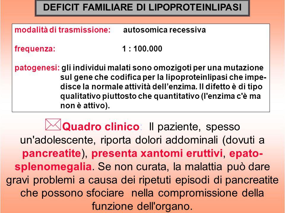 DEFICIT FAMILIARE DI LIPOPROTEINLIPASI modalità di trasmissione: autosomica recessiva frequenza: 1 : 100.000 patogenesi: gli individui malati sono omo