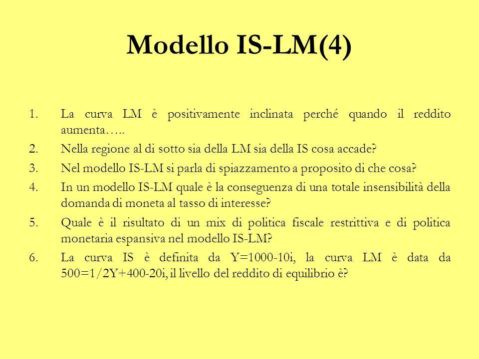 Modello IS-LM(4) 1.Il i deve aumentare per riequilibrare il mercato monetario; 2.