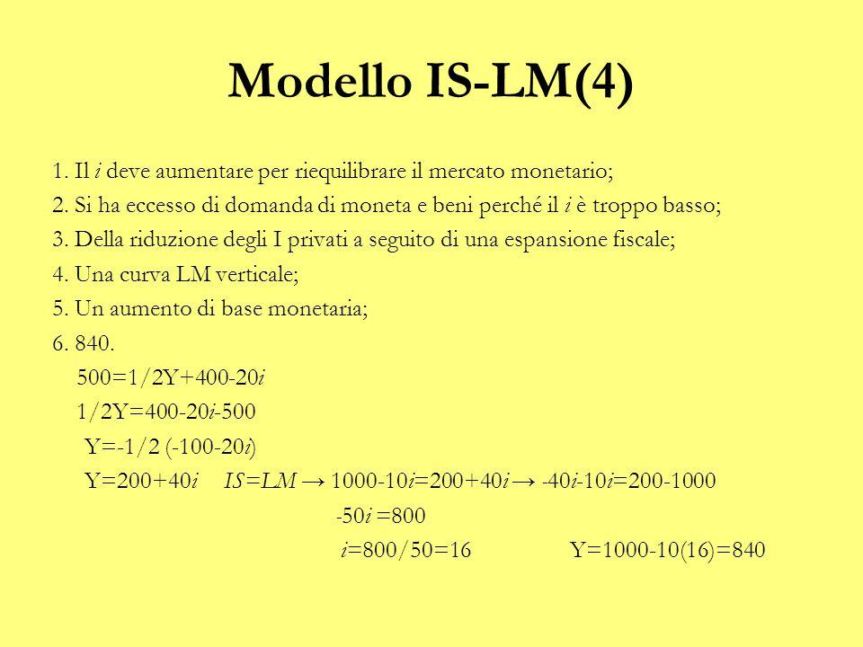 Modello IS-LM(4) 1. Il i deve aumentare per riequilibrare il mercato monetario; 2. Si ha eccesso di domanda di moneta e beni perché il i è troppo bass