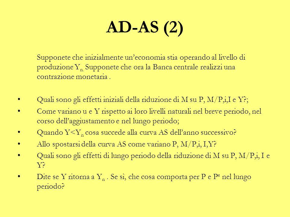 AD-AS (2) 1.Se ↓M ↓P ↓M/P (all'inizio P dimunuisce meno di M) ↑i ↓I ↓Y (effetti iniziali) 2.Breve periodo: ↓M ↓Y ↑u.