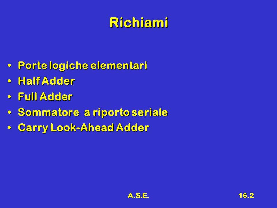 A.S.E.16.2 Richiami Porte logiche elementariPorte logiche elementari Half AdderHalf Adder Full AdderFull Adder Sommatore a riporto serialeSommatore a riporto seriale Carry Look-Ahead AdderCarry Look-Ahead Adder