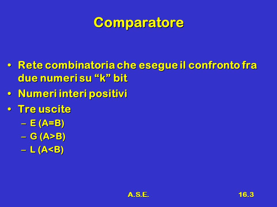 A.S.E.16.3 Comparatore Rete combinatoria che esegue il confronto fra due numeri su k bitRete combinatoria che esegue il confronto fra due numeri su k bit Numeri interi positiviNumeri interi positivi Tre usciteTre uscite –E (A=B) –G (A>B) –L (A<B)