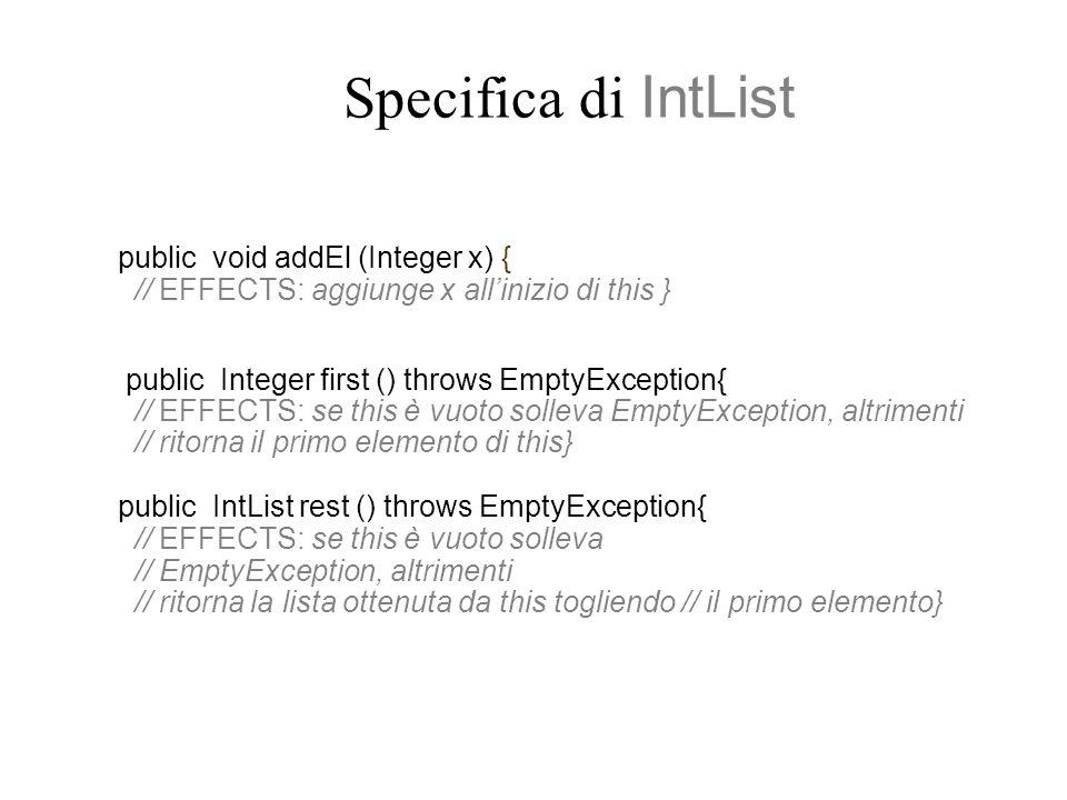 Specifica di IntList public void addEl (Integer x) { // EFFECTS: aggiunge x all'inizio di this } public Integer first () throws EmptyException{ // EFFECTS: se this è vuoto solleva EmptyException, altrimenti // ritorna il primo elemento di this} public IntList rest () throws EmptyException{ // EFFECTS: se this è vuoto solleva // EmptyException, altrimenti // ritorna la lista ottenuta da this togliendo // il primo elemento}