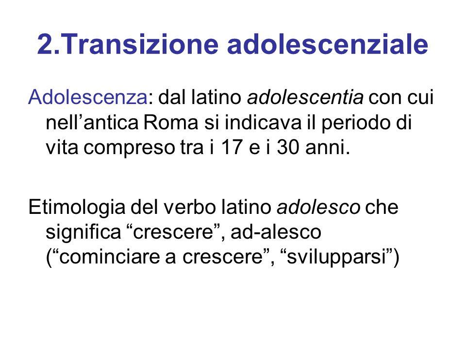 2.Transizione adolescenziale Adolescenza: dal latino adolescentia con cui nell'antica Roma si indicava il periodo di vita compreso tra i 17 e i 30 ann