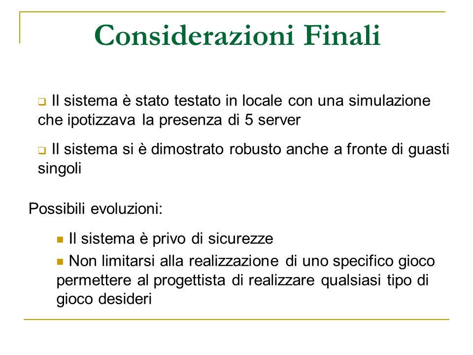 Considerazioni Finali  Il sistema è stato testato in locale con una simulazione che ipotizzava la presenza di 5 server  Il sistema si è dimostrato r