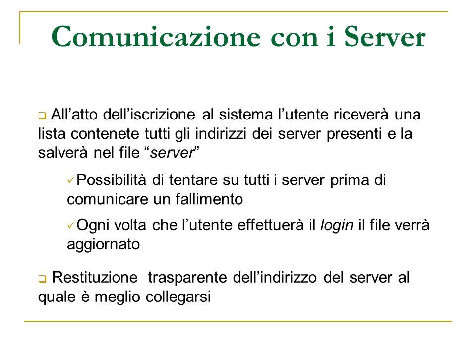 Comunicazione con i Server  All'atto dell'iscrizione al sistema l'utente riceverà una lista contenete tutti gli indirizzi dei server presenti e la sa