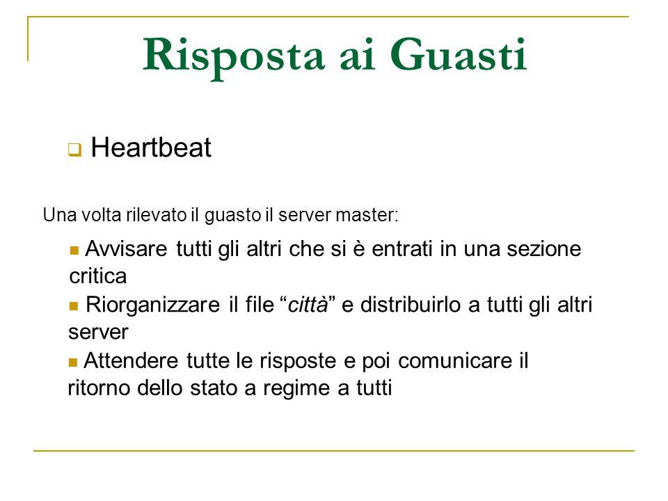 Risposta ai Guasti  Heartbeat Una volta rilevato il guasto il server master: Avvisare tutti gli altri che si è entrati in una sezione critica Riorgan