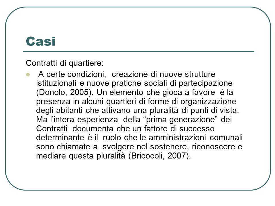 Casi Contratti di quartiere: A certe condizioni, creazione di nuove strutture istituzionali e nuove pratiche sociali di partecipazione (Donolo, 2005).