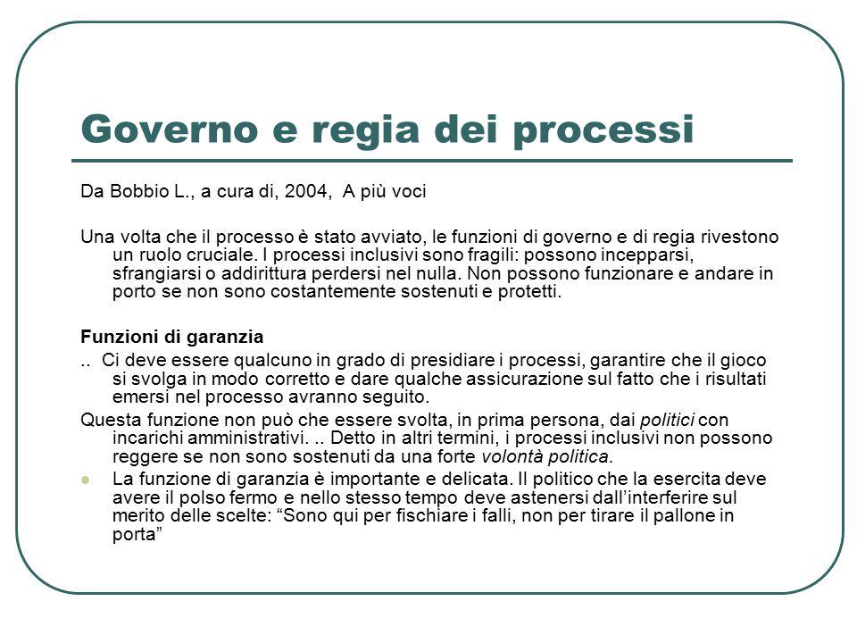 Governo e regia dei processi Da Bobbio L., a cura di, 2004, A più voci Una volta che il processo è stato avviato, le funzioni di governo e di regia rivestono un ruolo cruciale.