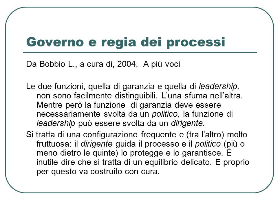 Governo e regia dei processi Da Bobbio L., a cura di, 2004, A più voci Le due funzioni, quella di garanzia e quella di leadership, non sono facilmente distinguibili.