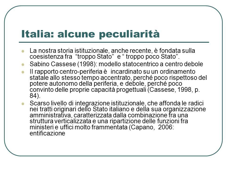Italia: alcune peculiarità La nostra storia istituzionale, anche recente, è fondata sulla coesistenza fra troppo Stato e troppo poco Stato .