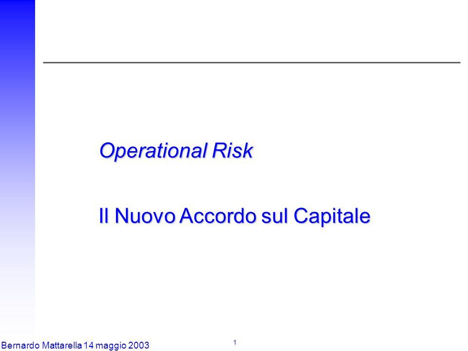 1 Bernardo Mattarella 14 maggio 2003 Operational Risk Il Nuovo Accordo sul Capitale