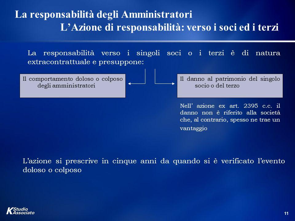 11 La responsabilità degli Amministratori L'Azione di responsabilità: verso i soci ed i terzi La responsabilità verso i singoli soci o i terzi è di na