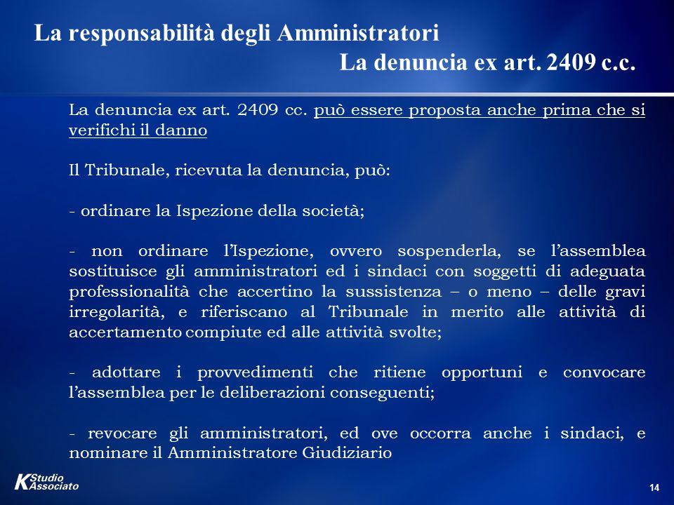 14 La responsabilità degli Amministratori La denuncia ex art. 2409 c.c. La denuncia ex art. 2409 cc. può essere proposta anche prima che si verifichi