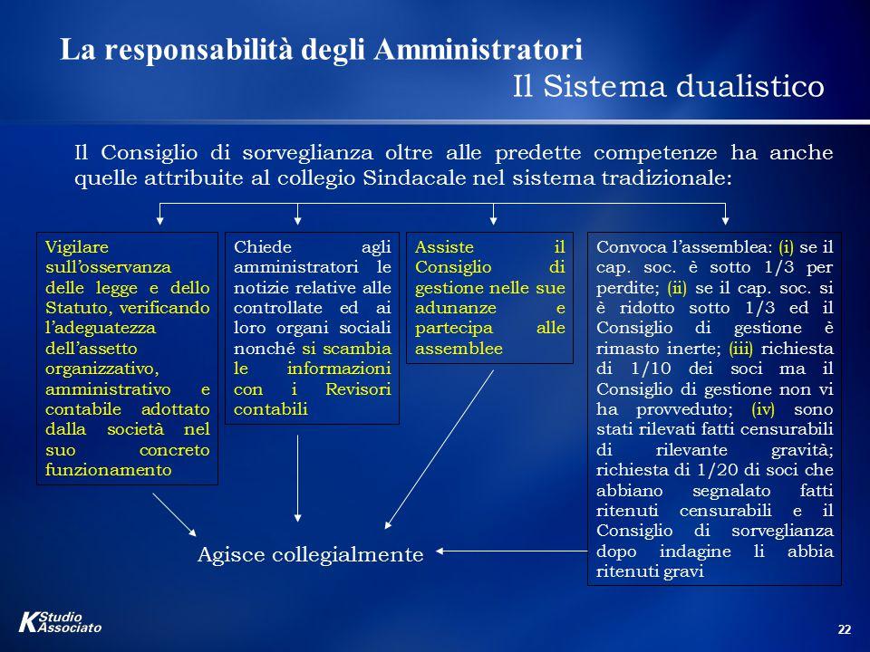 22 La responsabilità degli Amministratori Il Sistema dualistico Il Consiglio di sorveglianza oltre alle predette competenze ha anche quelle attribuite