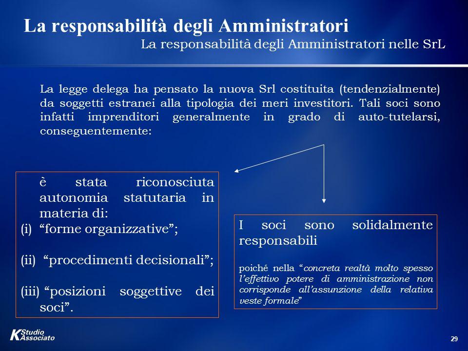 29 La responsabilità degli Amministratori La responsabilità degli Amministratori nelle SrL La legge delega ha pensato la nuova Srl costituita (tendenzialmente) da soggetti estranei alla tipologia dei meri investitori.