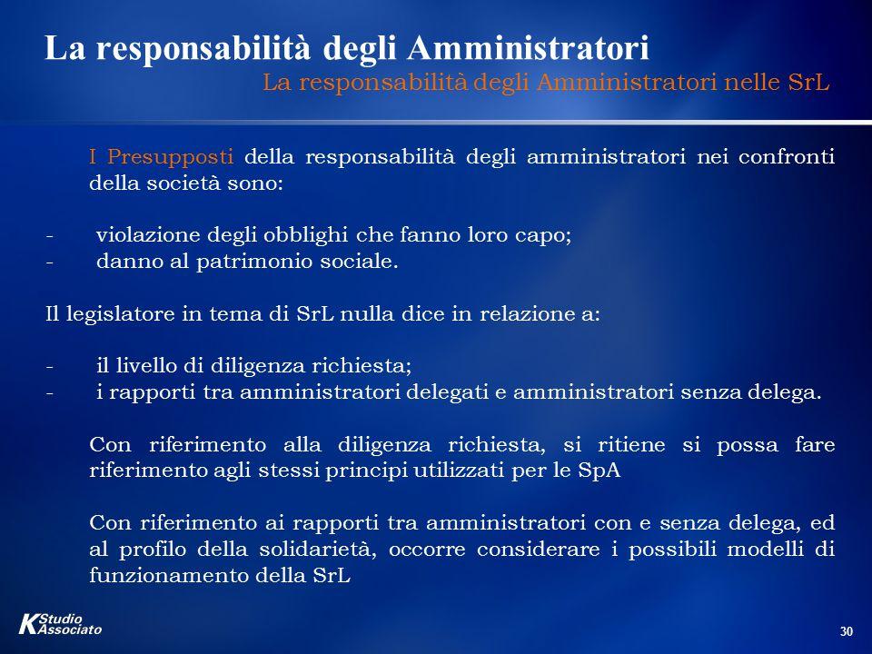 30 La responsabilità degli Amministratori La responsabilità degli Amministratori nelle SrL I Presupposti della responsabilità degli amministratori nei