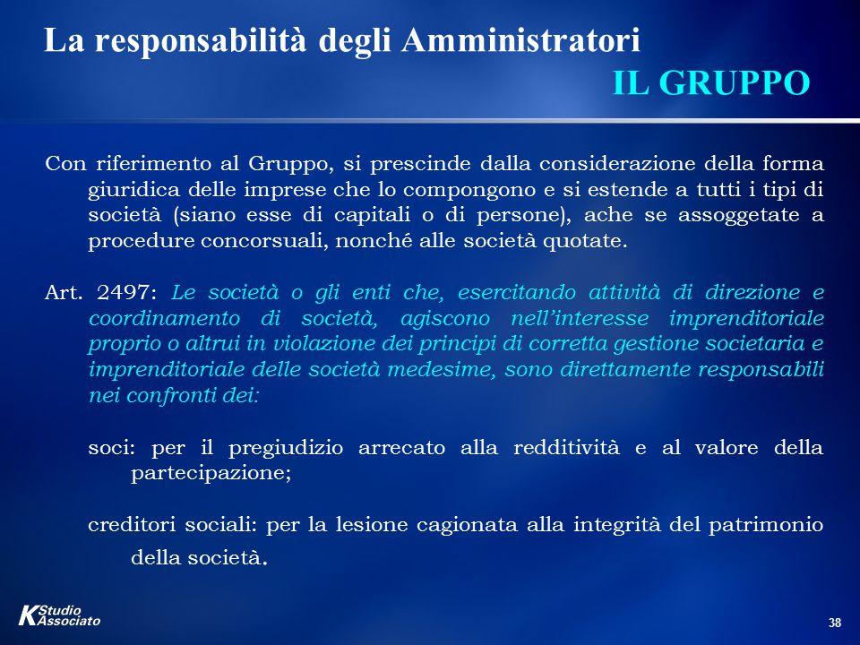 38 La responsabilità degli Amministratori IL GRUPPO Con riferimento al Gruppo, si prescinde dalla considerazione della forma giuridica delle imprese c