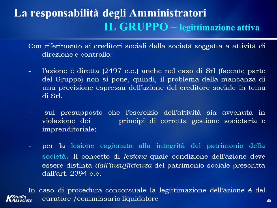 40 La responsabilità degli Amministratori IL GRUPPO – legittimazione attiva Con riferimento ai creditori sociali della società soggetta a attività di