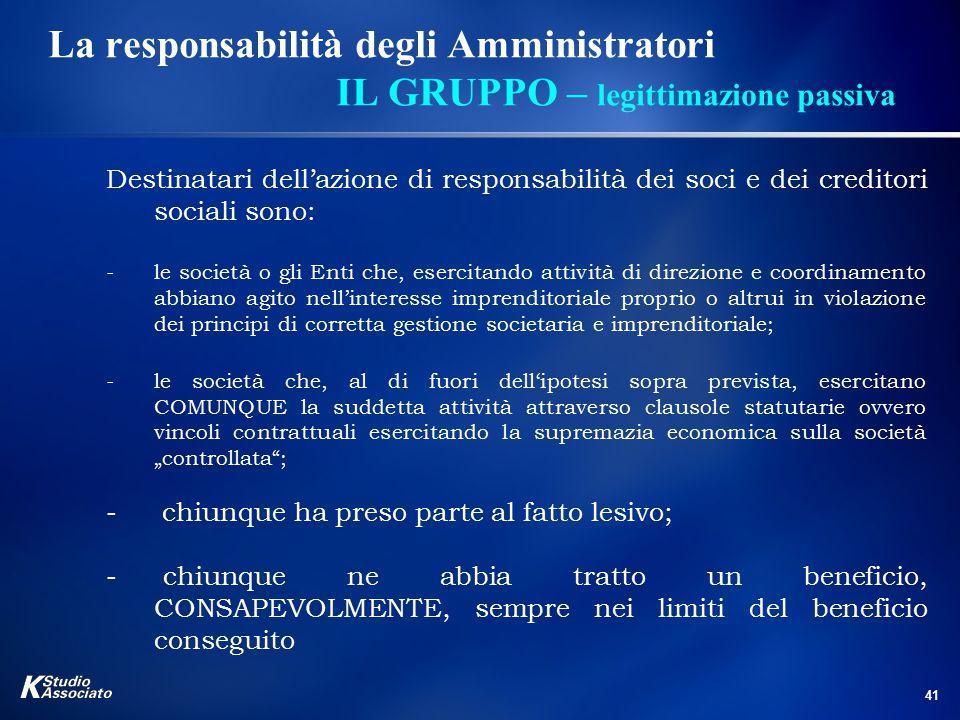 41 La responsabilità degli Amministratori IL GRUPPO – legittimazione passiva Destinatari dell'azione di responsabilità dei soci e dei creditori social