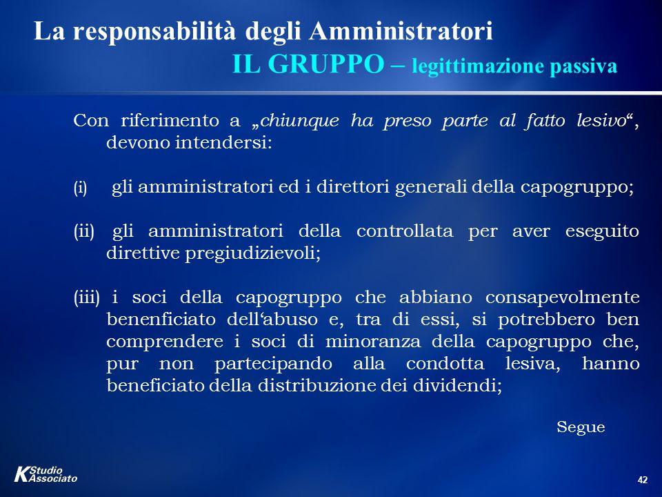 """42 La responsabilità degli Amministratori IL GRUPPO – legittimazione passiva Con riferimento a """" chiunque ha preso parte al fatto lesivo """", devono int"""