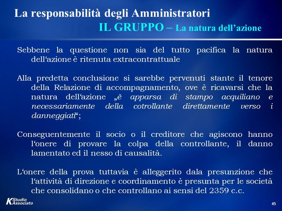 45 La responsabilità degli Amministratori IL GRUPPO – La natura dell'azione Sebbene la questione non sia del tutto pacifica la natura dell'azione è ri