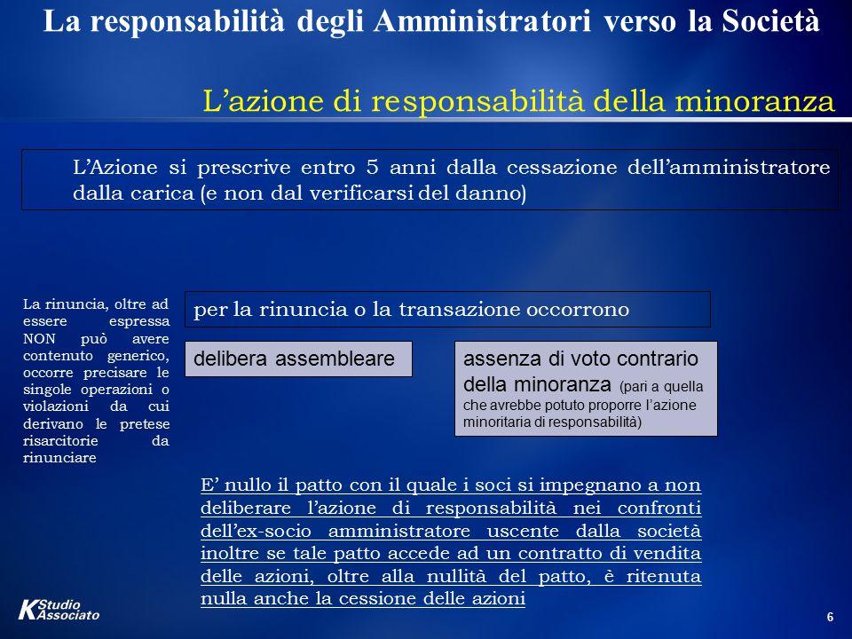 6 La responsabilità degli Amministratori verso la Società L'azione di responsabilità della minoranza L'Azione si prescrive entro 5 anni dalla cessazio