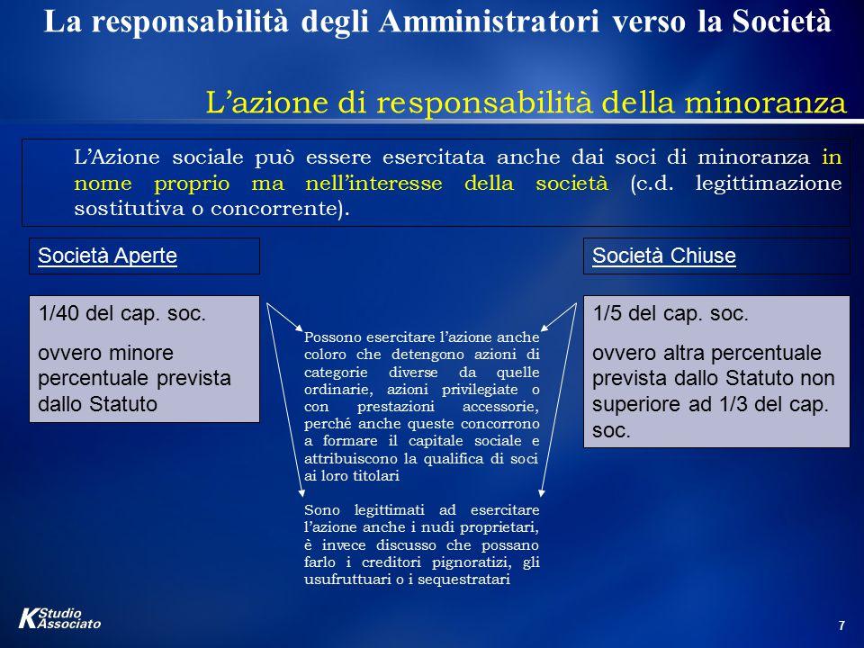 7 La responsabilità degli Amministratori verso la Società L'azione di responsabilità della minoranza L'Azione sociale può essere esercitata anche dai