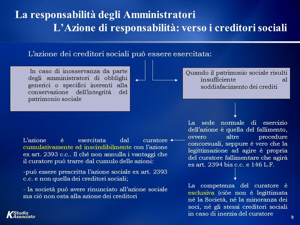 9 La responsabilità degli Amministratori L'Azione di responsabilità: verso i creditori sociali L'azione dei creditori sociali può essere esercitata: I