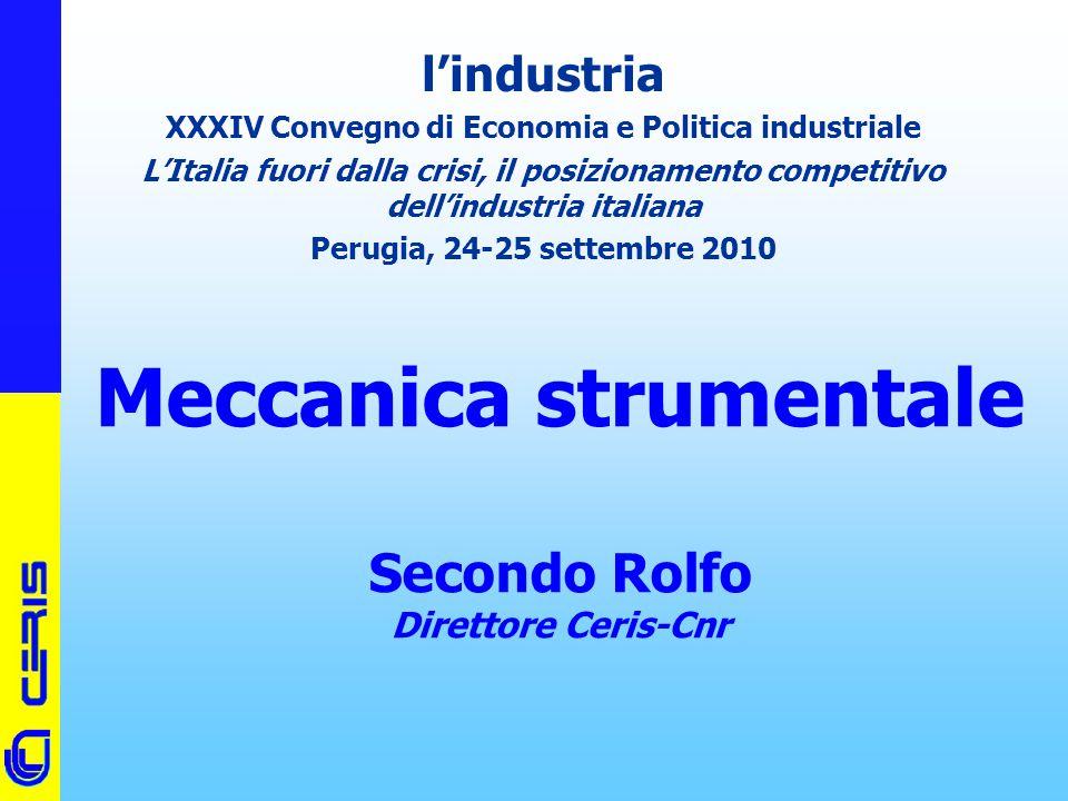 CERIS-CNR Meccanica strumentale Secondo Rolfo Direttore Ceris-Cnr l'industria XXXIV Convegno di Economia e Politica industriale L'Italia fuori dalla c