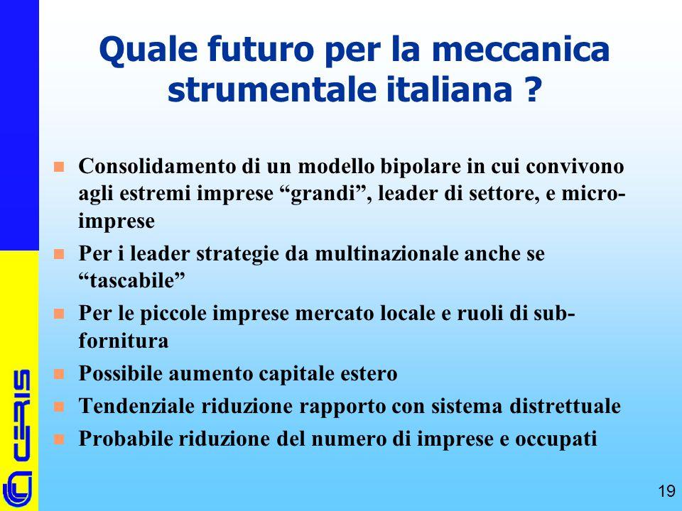 """CERIS-CNR 19 Quale futuro per la meccanica strumentale italiana ? n Consolidamento di un modello bipolare in cui convivono agli estremi imprese """"grand"""