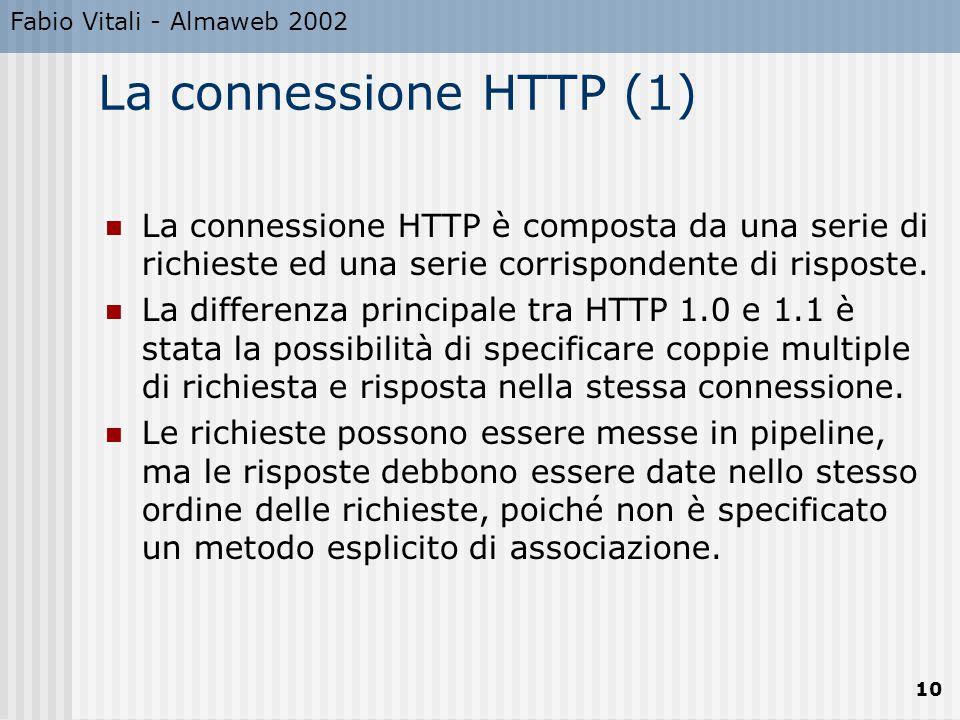 Fabio Vitali - Almaweb 2002 10 La connessione HTTP (1) La connessione HTTP è composta da una serie di richieste ed una serie corrispondente di rispost