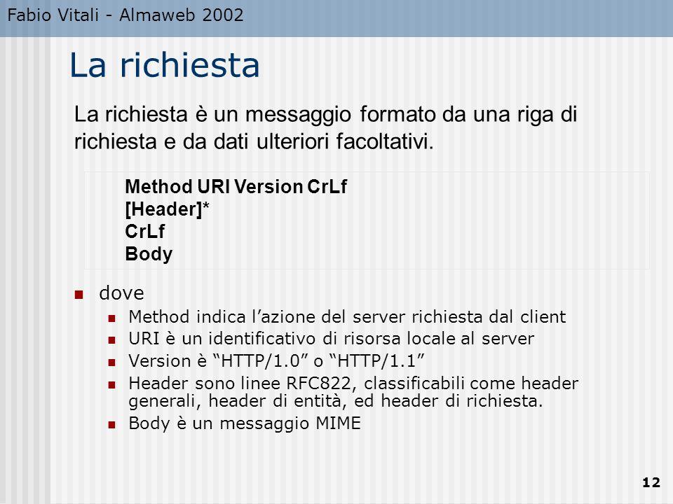Fabio Vitali - Almaweb 2002 12 Method URI Version CrLf [Header]* CrLf Body La richiesta è un messaggio formato da una riga di richiesta e da dati ulte