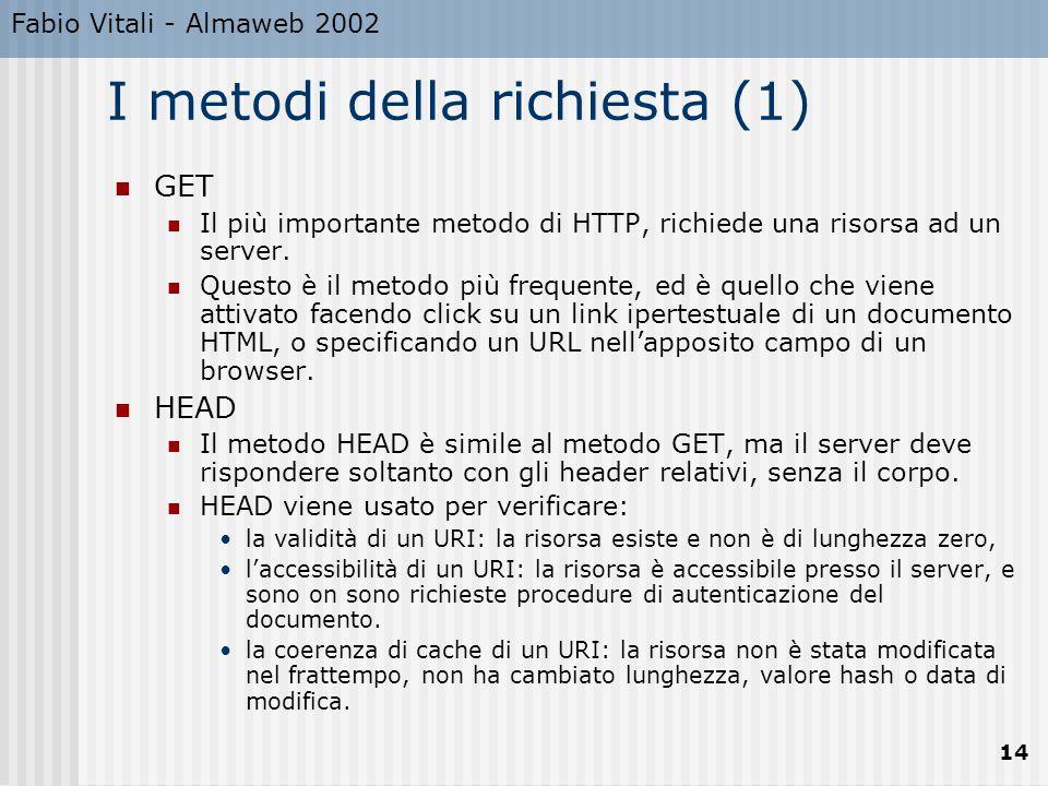 Fabio Vitali - Almaweb 2002 14 I metodi della richiesta (1) GET Il più importante metodo di HTTP, richiede una risorsa ad un server. Questo è il metod
