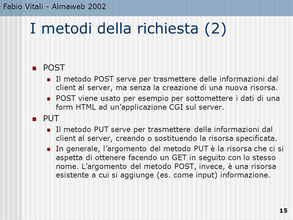 Fabio Vitali - Almaweb 2002 15 I metodi della richiesta (2) POST Il metodo POST serve per trasmettere delle informazioni dal client al server, ma senz