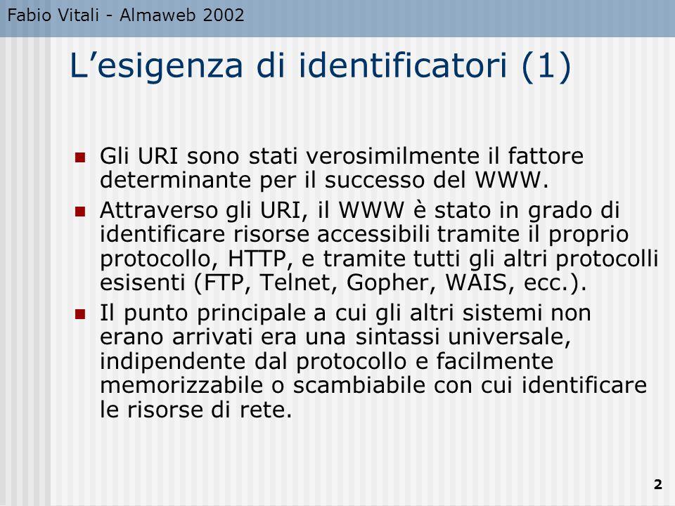 Fabio Vitali - Almaweb 2002 2 L'esigenza di identificatori (1) Gli URI sono stati verosimilmente il fattore determinante per il successo del WWW. Attr