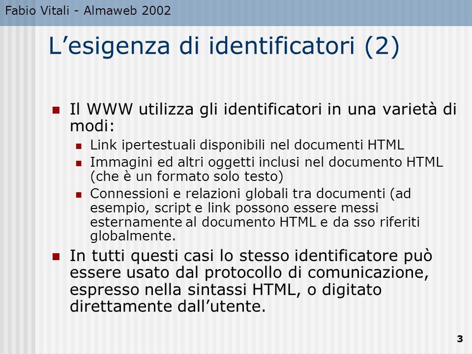 Fabio Vitali - Almaweb 2002 3 L'esigenza di identificatori (2) Il WWW utilizza gli identificatori in una varietà di modi: Link ipertestuali disponibil