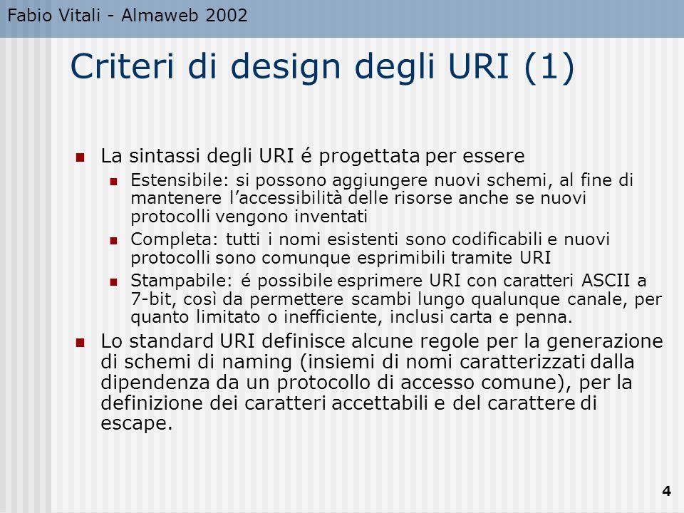 Fabio Vitali - Almaweb 2002 4 Criteri di design degli URI (1) La sintassi degli URI é progettata per essere Estensibile: si possono aggiungere nuovi s