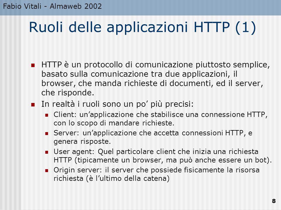 Fabio Vitali - Almaweb 2002 8 Ruoli delle applicazioni HTTP (1) HTTP è un protocollo di comunicazione piuttosto semplice, basato sulla comunicazione t