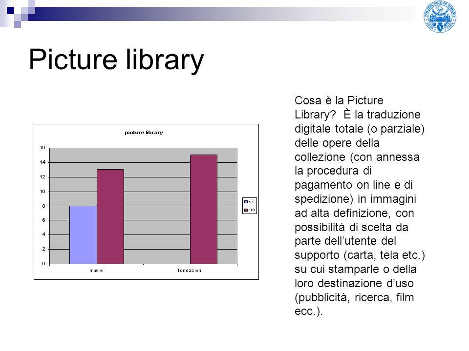 Picture library Cosa è la Picture Library? È la traduzione digitale totale (o parziale) delle opere della collezione (con annessa la procedura di paga