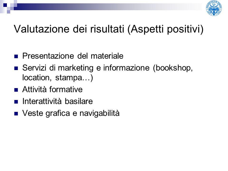 Valutazione dei risultati (Aspetti positivi) Presentazione del materiale Servizi di marketing e informazione (bookshop, location, stampa…) Attività fo