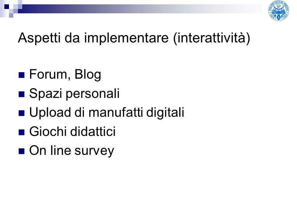 Aspetti da implementare (interattività) Forum, Blog Spazi personali Upload di manufatti digitali Giochi didattici On line survey