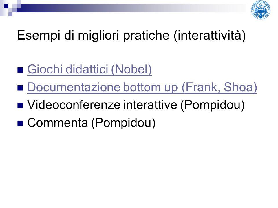 Esempi di migliori pratiche (interattività) Giochi didattici (Nobel) Documentazione bottom up (Frank, Shoa) Videoconferenze interattive (Pompidou) Com