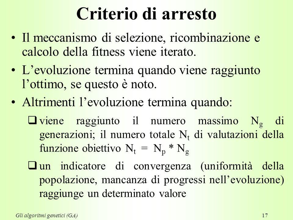 17 Criterio di arresto Il meccanismo di selezione, ricombinazione e calcolo della fitness viene iterato.