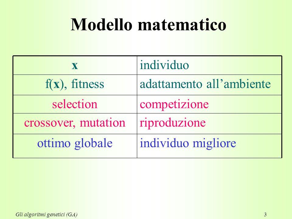 3 Modello matematico riproduzionecrossover, mutation individuo miglioreottimo globale competizioneselection adattamento all'ambientef(x), fitness individuox Gli algoritmi genetici (GA)