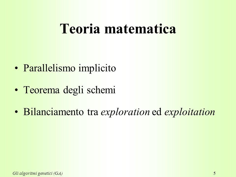5 Teoria matematica Parallelismo implicito Teorema degli schemi Bilanciamento tra exploration ed exploitation Gli algoritmi genetici (GA)