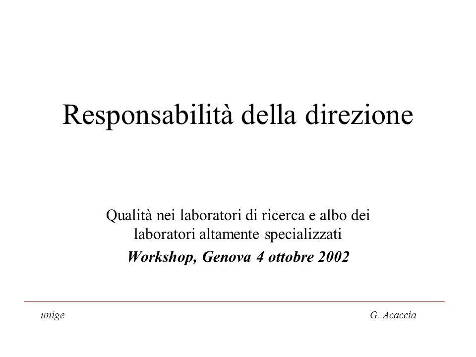 Responsabilità della direzione Qualità nei laboratori di ricerca e albo dei laboratori altamente specializzati Workshop, Genova 4 ottobre 2002 unige G.