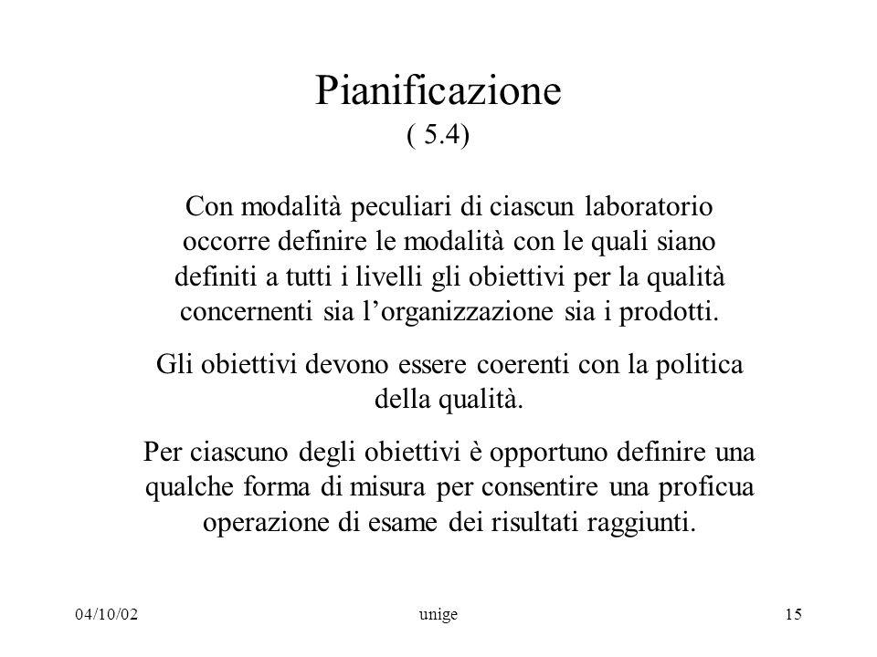 04/10/02unige15 Pianificazione ( 5.4) Con modalità peculiari di ciascun laboratorio occorre definire le modalità con le quali siano definiti a tutti i livelli gli obiettivi per la qualità concernenti sia l'organizzazione sia i prodotti.