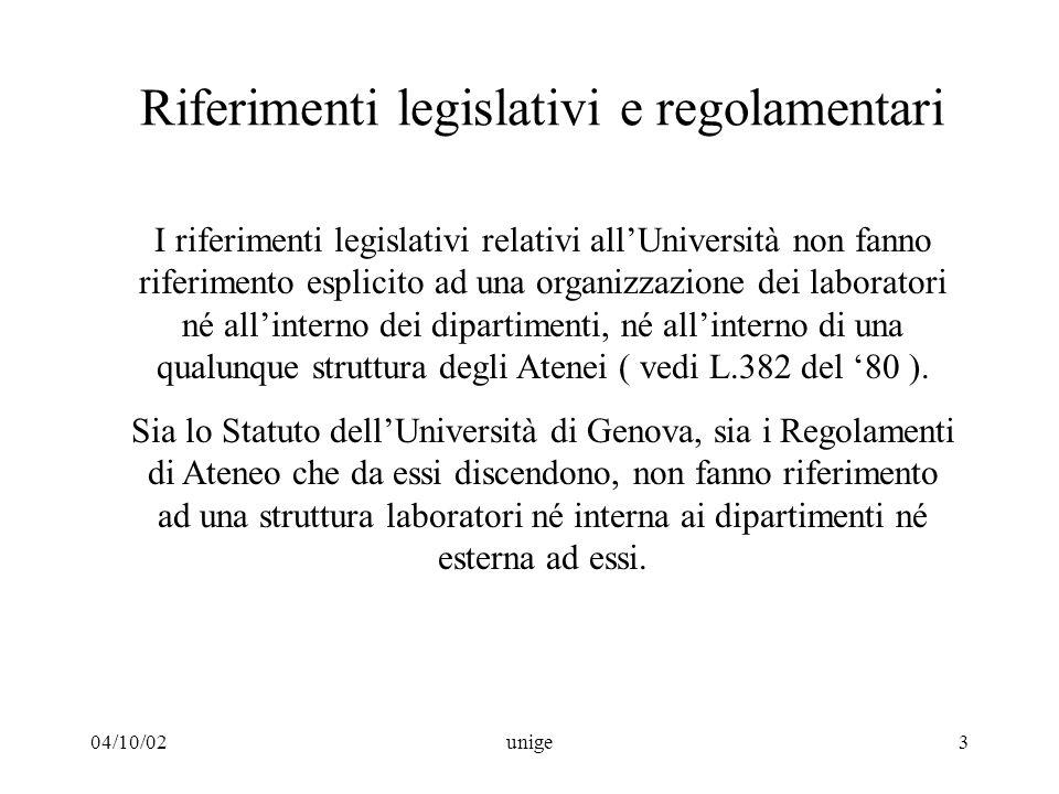 04/10/02unige3 Riferimenti legislativi e regolamentari I riferimenti legislativi relativi all'Università non fanno riferimento esplicito ad una organizzazione dei laboratori né all'interno dei dipartimenti, né all'interno di una qualunque struttura degli Atenei ( vedi L.382 del '80 ).