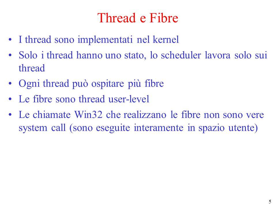 5 Thread e Fibre I thread sono implementati nel kernel Solo i thread hanno uno stato, lo scheduler lavora solo sui thread Ogni thread può ospitare più fibre Le fibre sono thread user-level Le chiamate Win32 che realizzano le fibre non sono vere system call (sono eseguite interamente in spazio utente)